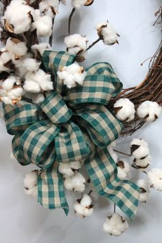 Country Cotton Wreath Cotton Boll Wreath Natural por TheWreathShed