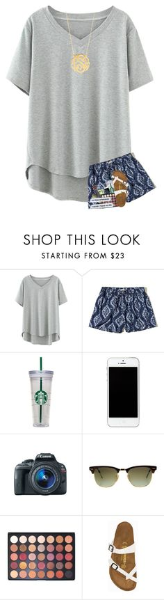 """""""hoping for no school tomorrow"""" by sanddollars ❤ liked on Polyvore featuring Hollister Co., WALL, Eos, Ray-Ban, Morphe, Birkenstock and BaubleBar"""