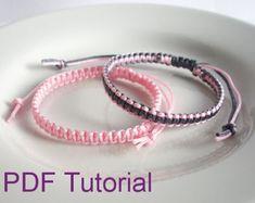 PDF Tutorial Square Knot Macrame Bracelet Pattern, Instant Download Macrame Bracelet Tutorial, DIY Friendship Slider Bracelet