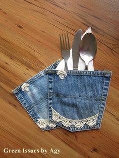 Green Issues: Jean pocket cutlery holders