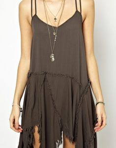 Free People Slip Dress with Shredded Hem-- just got this, excited!