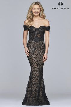 ed90756493be4 Faviana Glamour S10109 is an off-the-shoulder lightweight lace formal dress  which has. French Novelty