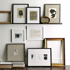 I like the mix of these, especially the linen mat board with the silver frame. White and silver maybe one or two black.