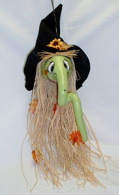 Halloween Witch Gourd  Hand Painted by FromGramsHouse on Etsy, $28.00