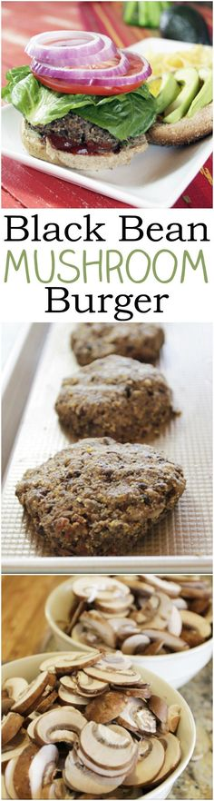 If you're craving meat but want to stick with your whole food plant-based diet try these Black Bean Mushroom burgers. Plant Based Diet, Plant Based Recipes, Plant Based Burgers, Mushroom Burger, Black Bean Burgers, Albondigas, Vegan Dinners, Healthy Dinners, Vegetarian Recipes