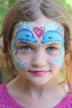 Easy halloween face painting ideas for cheeks can help you in adding so much fun to any party. Face painting is a very good as well as fun way Dolphin Face Paint, Blue Face Paint, Mermaid Face Paint, Mermaid Makeup, Girl Face Painting, Mask Painting, Face Painting Designs, Painting For Kids, Body Painting