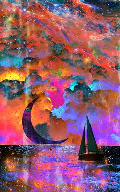 colorful moon and sailboat