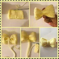 Crochet Bow Pattern - - This pattern is for a thee demensional bow that can be used for all kinds of things' as a hair accessory, cute decoration for a hat, to add extra cuteness to doll clothes, etc. Crochet Bows Free Pattern, Crochet Bow Ties, Crochet Hair Bows, Crochet Hair Accessories, Crochet Flower Patterns, Cute Crochet, Crochet Flowers, Crochet Stitches, Beautiful Crochet