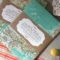 5 pack of envelopes made from vintage map envelopes