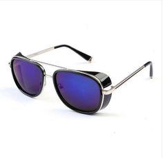 e93d061b3bd Iron man sunglasses. Blue lenses   rectangle frame. Men vintage sunglasses.
