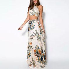 New Women Summer Bandage Floral Casual Beach Two Piece Crop Top+Long Skirt Dress Set