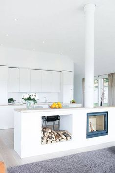 Modern fireplace / kitchen If I tore down the wall between my kitchen & living room maybe this would be a neat divider/island. Open Plan Kitchen Living Room, New Kitchen, Kitchen Small, Kitchen Layout, Kitchen Island, Kitchen White, Kitchen Ideas, Kitchen Modern, Dining Room