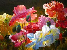 florals, landscapes, oil paintings, original art by Leon Roulette, poppies