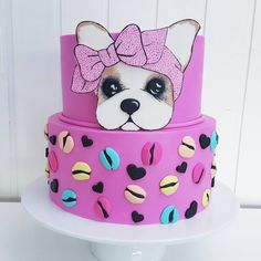 cake dog pink Dog Birthday, Birthday Gifts, Fondant Cakes, Cupcake Cakes, Boo Puppy, Torta Paw Patrol, Baby Girl Cakes, Puppy Party, Pretty Cakes