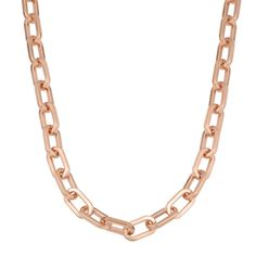 Oro Rosa 18k Rose Over Bronze Italian High Polish Oval Status Link Chain Necklace