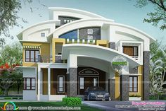 Contemporary model curved roof house - Kerala home design and floor .Curved Roof Flat Roof House Plan Kerala Home Design And House Roof Design, House Outside Design, Flat Roof House, Home Building Design, Bungalow House Design, House Design Photos, Facade House, Modern House Design, Kerala House Design