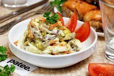 Салат из куриных желудков с яйцами и овощами