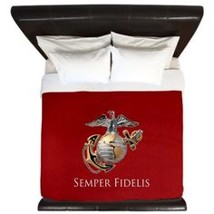 USMC EGA on a comforter, would look so nice in a Marine Corps themed bedroom with some blue curtains.