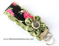 Fabric Keychain  Fabric Keychain Wristlet  by LittleMissHattitude, $11.95