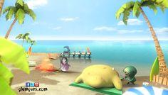 Glumpers on the beach enjoying the summer holidays: sun, relax, friends. Cartoon comedy for kids.   ---------------  Los Glumpers están en la playa disfrutando de las vacaciones de verano ahora que ha acabado el colegio: Sol, calorcito, relax, playas bonitas y los amigos. Glumpers, dibujos animados divertidos, comedia de animación