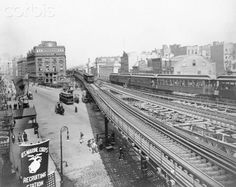 The Elevated passing over Cooper Square, Photo from Corbis Images. Great Shots, Empire State, Old And New, Railroad Tracks, New York City, Past, Old Things, Nyc, Black And White