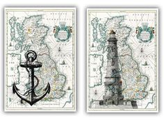 Lighthouse and anchor Print on antique map of England, Map Wall Art, Set of 2 A3 size Matte Prints, nautical prints via Etsy