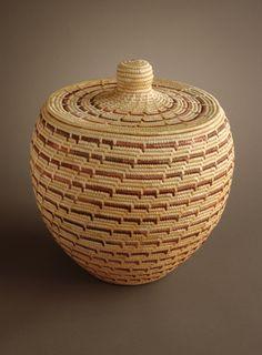 Jane Wiseman |  Large Lidded Yup'ik Basket. Grass, Commercial Dyes