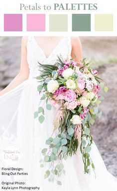 Pink Green Wedding Bouquet - Pink Wedding Flowers - Greenery Wedding Bouquets - #PinkWeddingIdeas #GreeneryWeddingIdeas - Cascading Wedding Bouquets - Wild Wedding Bouquets - #ColorIdeas #WeddingColorIdeas