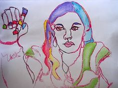 Artopotamus Self-portraits. With a washable marker, stu trace reflection onto a Lowe's mirror tile. A dampened piece of wet paper is placed on top to get a print. Complete with markers, colored pencil for expressive line self-portrait.  Love this!