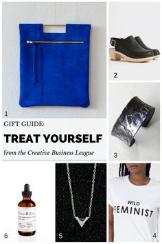 Treat Yourself Gift Guide | Sterling Silver Cuff Bracelet, Body Oil, Sterling Silver Necklace, Clogs, Cobalt Blue Clutch, Wild Feminist T-Shirt | by Creative Business League