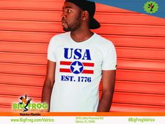 USA custom shirt. At Big Frog we can put what makes you proud on your shirt... everything we do it custom made just for you! Contact us at DesignersValrico@BigFrog.com to get started! #DTG #Embroidery #ScreenPrint #Vinyl #Sublimation Custom Printed Shirts, Usa Customs, Patriotic Shirts, American Pride, Custom T, Free Design, Get Started, Screen Printing, Just For You