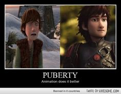 hiccup how to train your dragon puberty. #lol