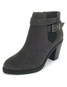 Suede Wide Fit Heeled Cleated Ankle Boots | M&S