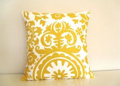 CIJ SALE 15% Off Throw Pillow Cover 20 x 20 Yellow Suzani Floral Pillow. Accent Pillow.