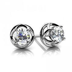 1 Carats prong set round diamond women stud earring white gold 14k