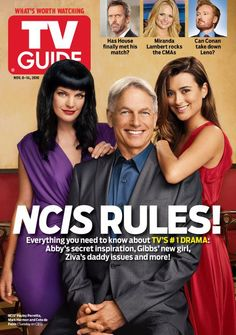 NCIS TV Guide Cover. November 2010 - it's wierd to see Pauley with her hair down & Mark Harmon smiling.  ;-)