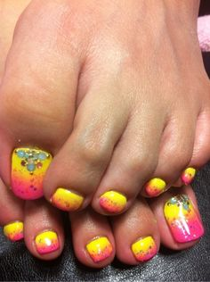 Pink and yellow toenails