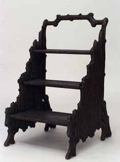 Rustic Black Forest (19th Century) Walnut 3 Step Library Ladder With Carved Branch Design   c.Late 19th Century