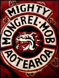 New Zealand's Mongrel Mob patch Motorcycle Vest, Biker Vest, Motorcycle Clubs, Maori Face Tattoo, Bike Gang, Mongrel, Biker Clubs, Biker Quotes, Biker Patches
