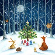 Ileana Oakley - Christmas Tree Presents Fox Owl Robin Mouse Hedgehog Christmas Hearts, Christmas Scenes, Christmas Love, Christmas Design, Christmas Pictures, Winter Christmas, Vintage Christmas, Charity Christmas Cards, Christmas Tree With Presents