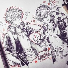 MM x school!AU I want to see luciel in gakuran so bad and this happened  for #inktober2016 maybe?? Although 99% sure I can't draw everyday T_TT my prompts for inktober this year is to draw males bc tbh i enjoy drawing females more lol how to draw males' anatomy and those muscles cries #mysticmessenger #mysticmessenger707 #inktober