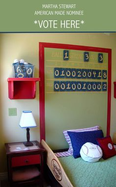 Custom Hand-made Scoreboard Headboard & Baseball Bat guardrails: Juvenile Hall Design; creators of kids room design & decor.  Please support us with your vote! #juvenilehalldesign http://www.marthastewart.com/americanmade/nominee/80332?xsc=SOC_AM_NomFB