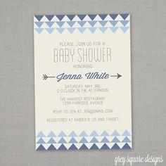 Modern Triangle Baby Shower Invitation by greysquare on Etsy, $12.00