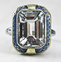 Art Deco 14k White Gold 8 80ct Gem vs Aquamarine Enamel Ring