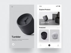 Tumbler Product - App by Rron Berisha on Dribbble Mobile Ui Design, App Ui Design, Interface Design, Layout Design, Promo Flyer, Website Design, Ui Design Inspiration, Catalog Design, Ui Web