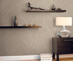 modern wallpaper patterns - Cream and beige colors with tree branches for pattern