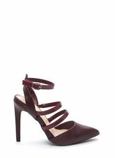 Strap yourself in these strappy pointy heels and you'll...