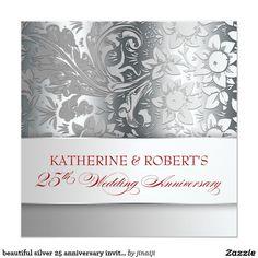 beautiful silver 25 anniversary invitations