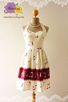 Music Lover White Cream Dress Dark Red Retro Party Cocktail Bridesmaid Choir Birthday Concert Event Every Day Dress -Size XS,S,M,L,CUSTOM- on Etsy, $46.50