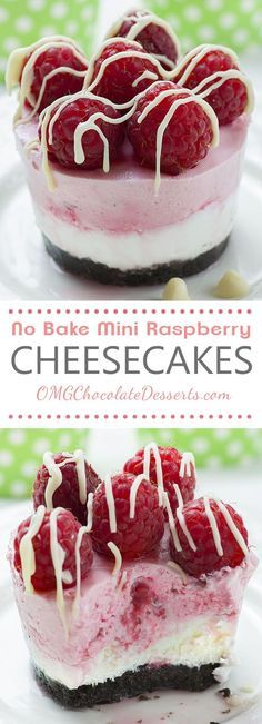 No Bake Mini Raspberry Cheesecakes with Oreo Crust are refreshing summer dessert and best of all, there is no need to turn on the oven because these cheesecakes with fresh raspberries and white chocolate drizzle on top are NO BAKE!!!